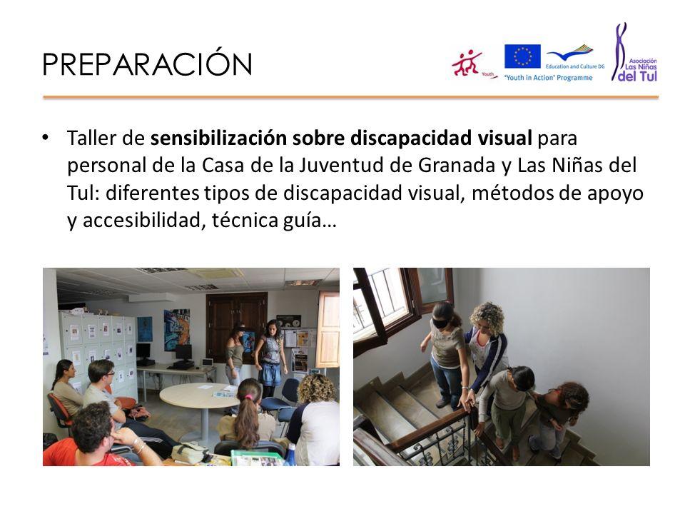 PREPARACIÓN Taller de sensibilización sobre discapacidad visual para personal de la Casa de la Juventud de Granada y Las Niñas del Tul: diferentes tip