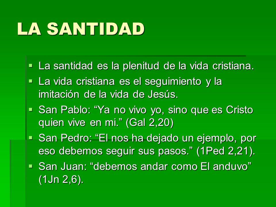 LA SANTIDAD La santidad es la plenitud de la vida cristiana. La santidad es la plenitud de la vida cristiana. La vida cristiana es el seguimiento y la