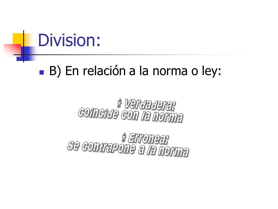 B) En relación a la norma o ley: