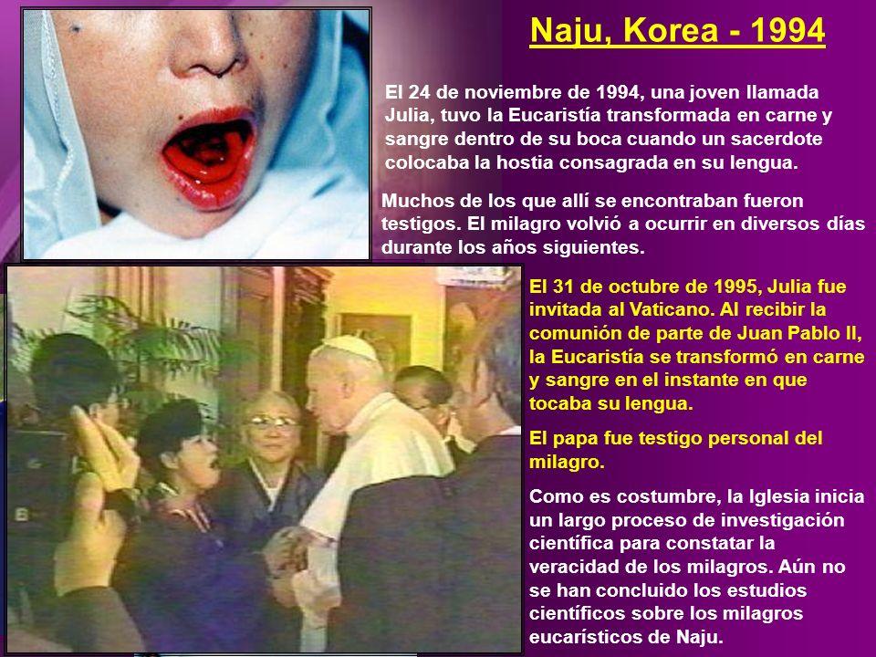 El 24 de noviembre de 1994, una joven llamada Julia, tuvo la Eucaristía transformada en carne y sangre dentro de su boca cuando un sacerdote colocaba la hostia consagrada en su lengua.