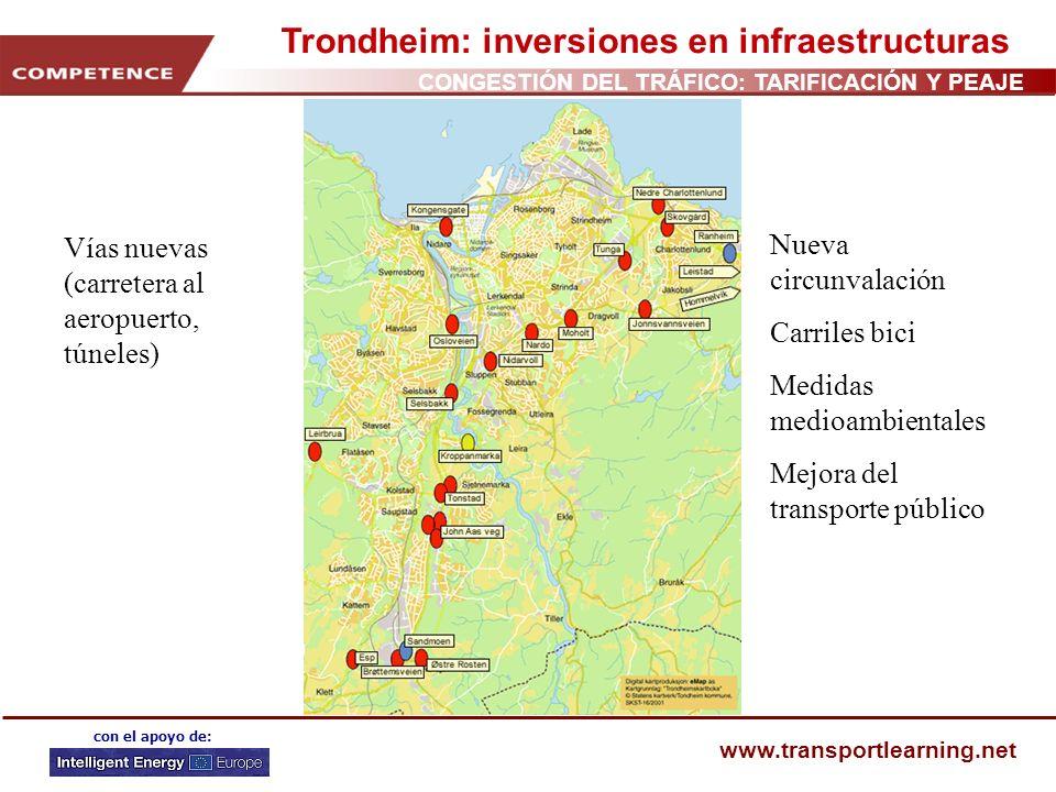 CONGESTIÓN DEL TRÁFICO: TARIFICACIÓN Y PEAJE www.transportlearning.net con el apoyo de: Trondheim: inversiones en infraestructuras Vías nuevas (carret