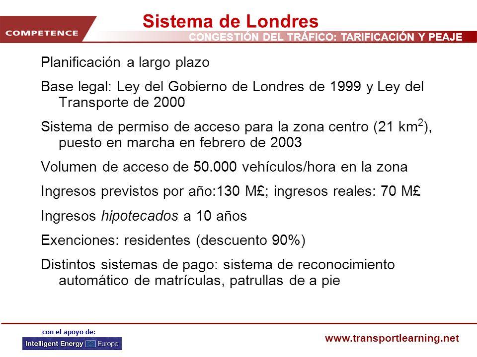 CONGESTIÓN DEL TRÁFICO: TARIFICACIÓN Y PEAJE www.transportlearning.net con el apoyo de: Sistema de Londres Planificación a largo plazo Base legal: Ley