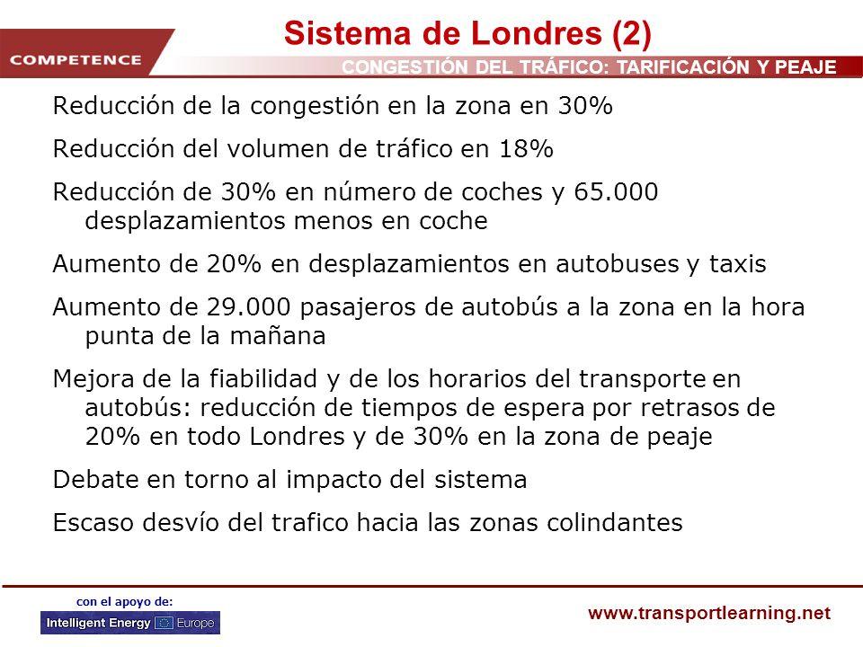 CONGESTIÓN DEL TRÁFICO: TARIFICACIÓN Y PEAJE www.transportlearning.net con el apoyo de: Sistema de Londres (2) Reducción de la congestión en la zona e
