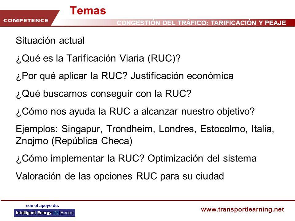www.transportlearning.net con el apoyo de: Temas Situación actual ¿Qué es la Tarificación Viaria (RUC)? ¿Por qué aplicar la RUC? Justificación económi