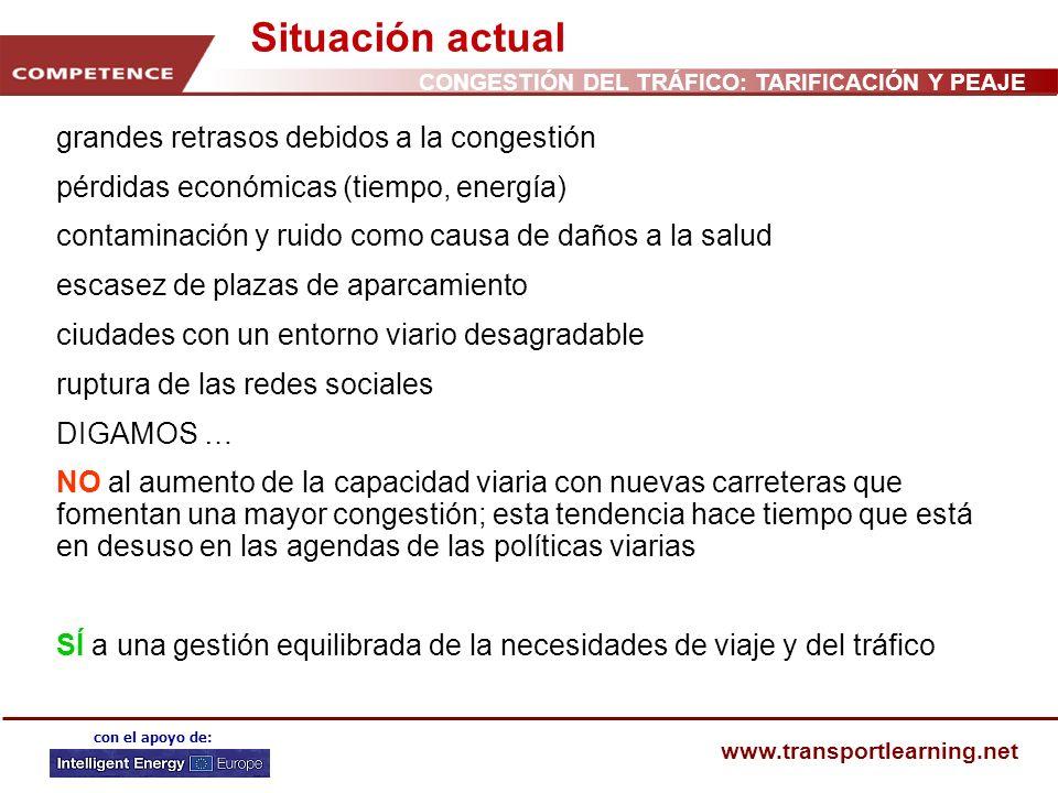CONGESTIÓN DEL TRÁFICO: TARIFICACIÓN Y PEAJE www.transportlearning.net con el apoyo de: Situación actual grandes retrasos debidos a la congestión pérd