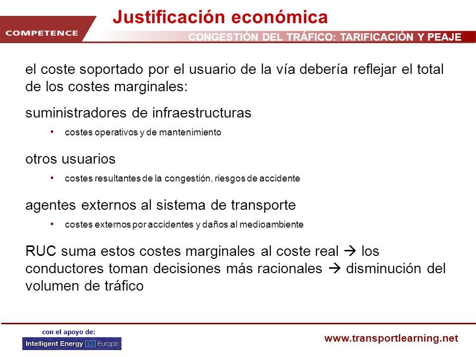 CONGESTIÓN DEL TRÁFICO: TARIFICACIÓN Y PEAJE www.transportlearning.net con el apoyo de: Justificación económica el coste soportado por el usuario de l