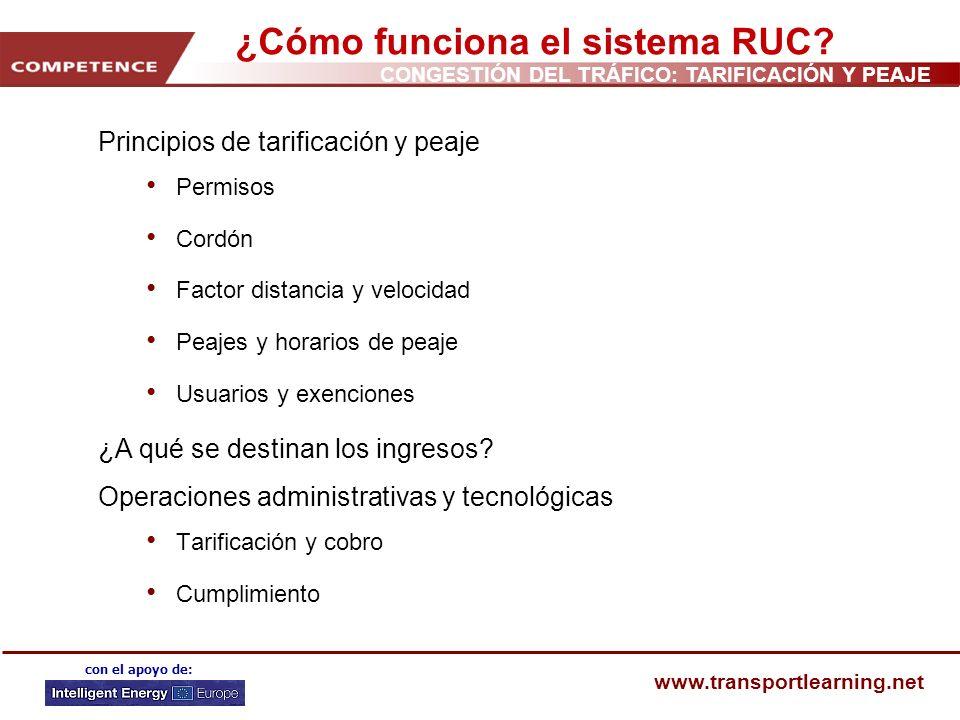 CONGESTIÓN DEL TRÁFICO: TARIFICACIÓN Y PEAJE www.transportlearning.net con el apoyo de: ¿Cómo funciona el sistema RUC? Principios de tarificación y pe