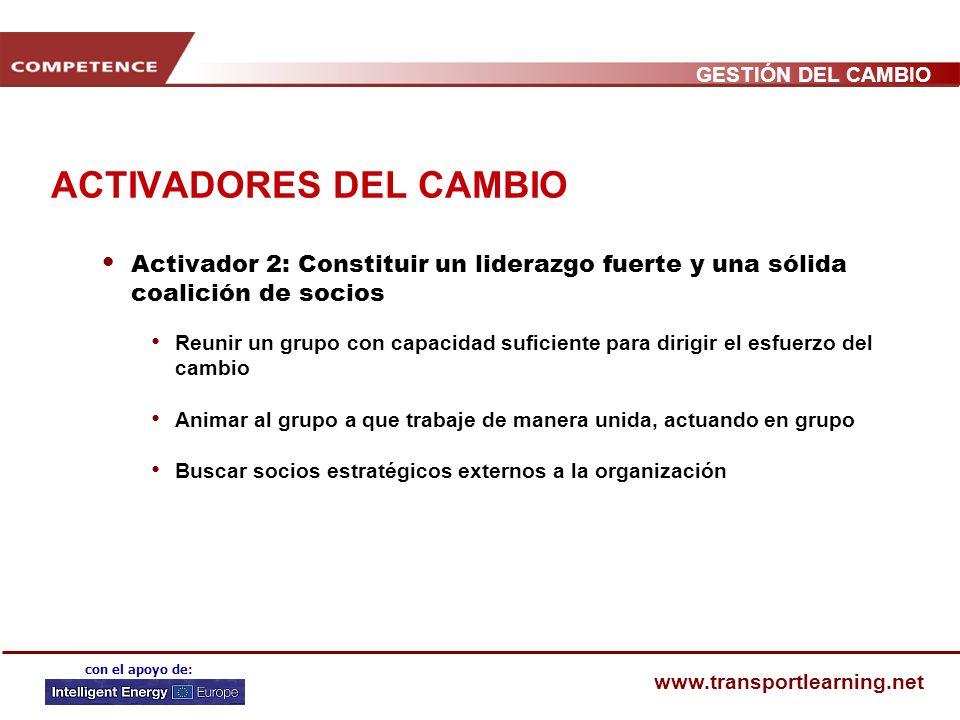 GESTIÓN DEL CAMBIO www.transportlearning.net con el apoyo de: ACTIVADORES DEL CAMBIO Activador 1: Crear una sensación compartida de urgencia del cambi