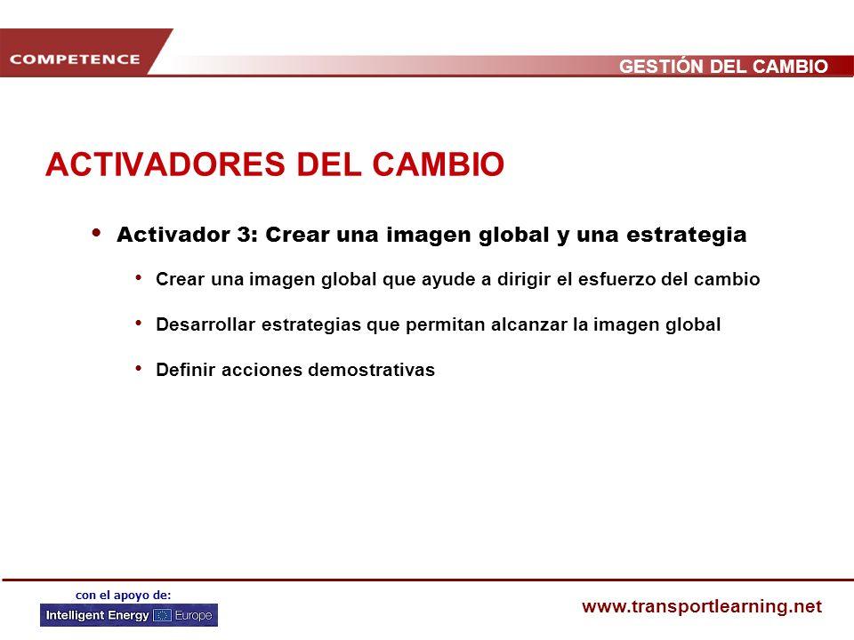 GESTIÓN DEL CAMBIO www.transportlearning.net con el apoyo de: ACTIVADORES DEL CAMBIO Activador 2: Constituir un liderazgo fuerte y una sólida coalició