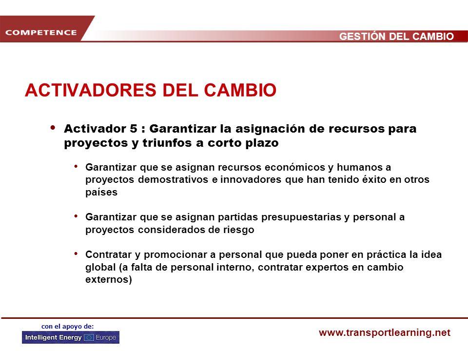 GESTIÓN DEL CAMBIO www.transportlearning.net con el apoyo de: ACTIVADORES DEL CAMBIO Activador 4 : Facultar al personal y a las partes interesadas par