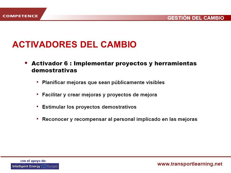 GESTIÓN DEL CAMBIO www.transportlearning.net con el apoyo de: ACTIVADORES DEL CAMBIO Activador 5 : Garantizar la asignación de recursos para proyectos