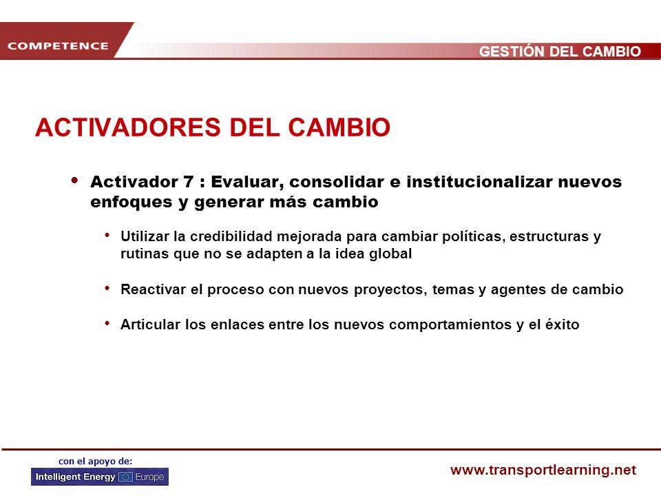 GESTIÓN DEL CAMBIO www.transportlearning.net con el apoyo de: ACTIVADORES DEL CAMBIO Activador 6 : Implementar proyectos y herramientas demostrativas