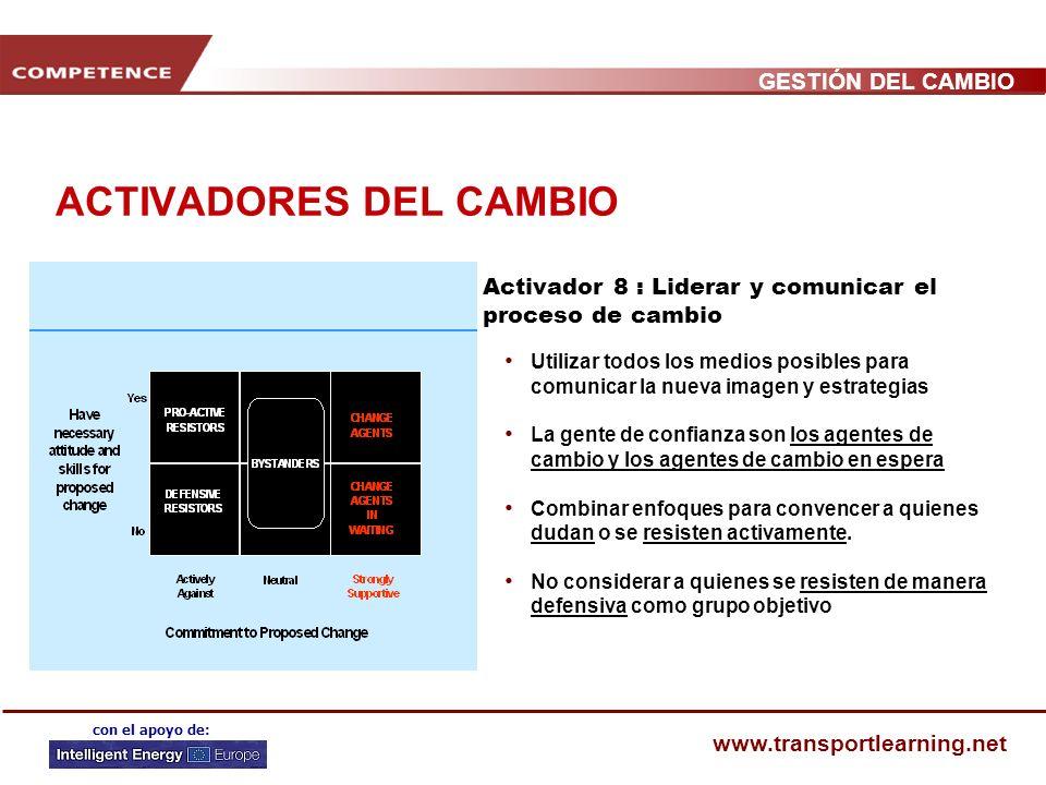 GESTIÓN DEL CAMBIO www.transportlearning.net con el apoyo de: ACTIVADORES DEL CAMBIO Activador 7 : Evaluar, consolidar e institucionalizar nuevos enfo