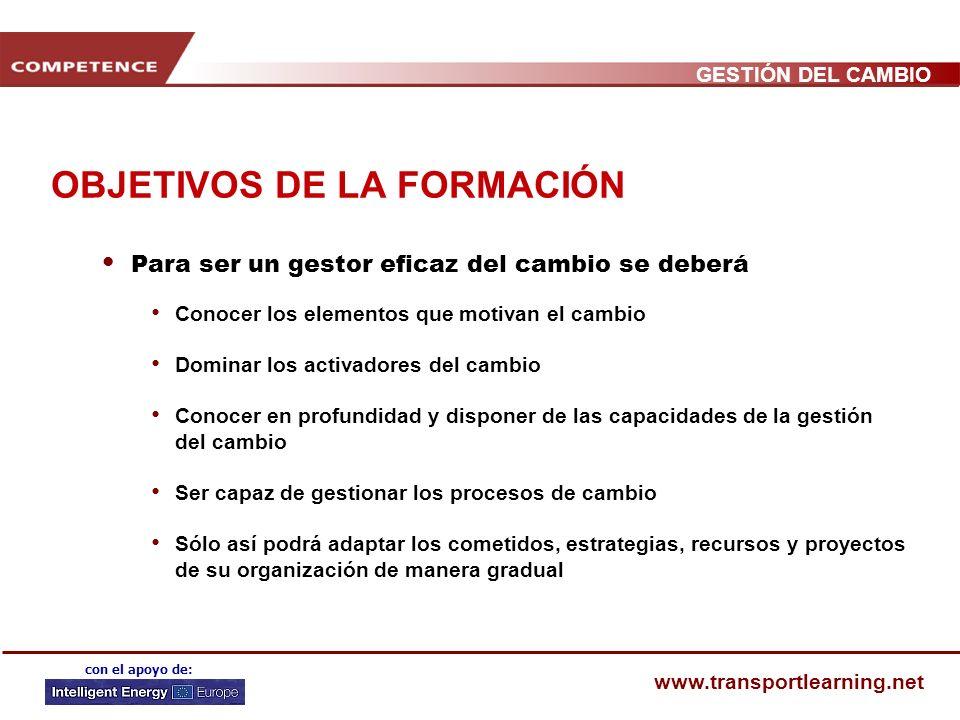 GESTIÓN DEL CAMBIO www.transportlearning.net con el apoyo de: ACTIVADORES DEL CAMBIO