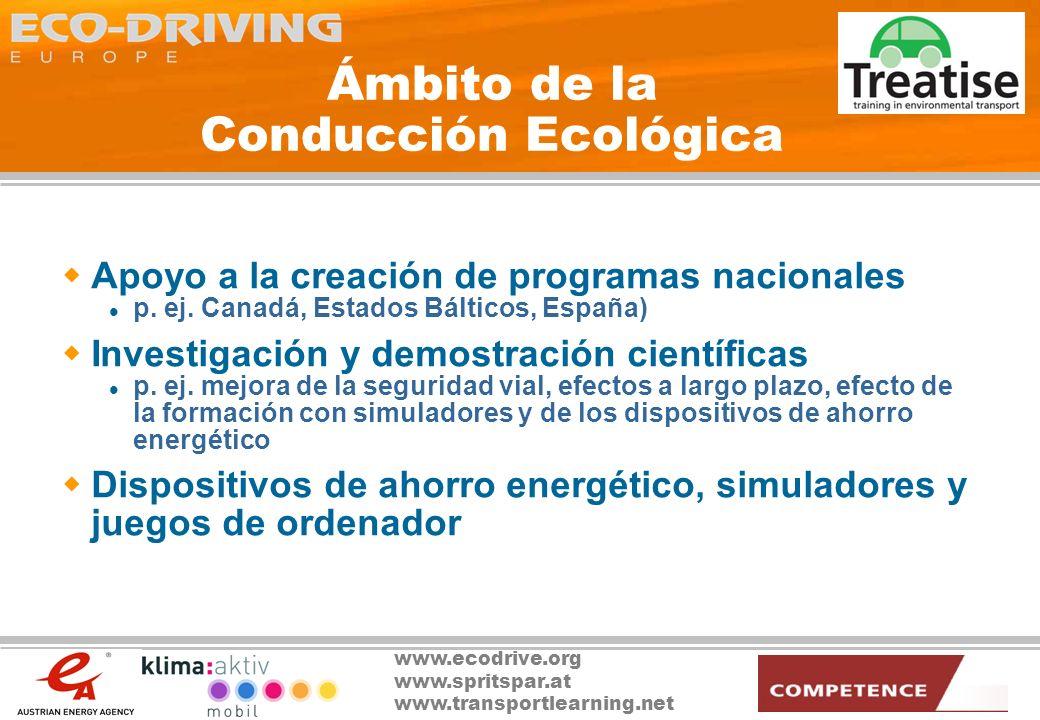 www.ecodrive.org www.spritspar.at www.transportlearning.net Los Motores de la Conducción Ecológica CulturaLegislación Tecnología
