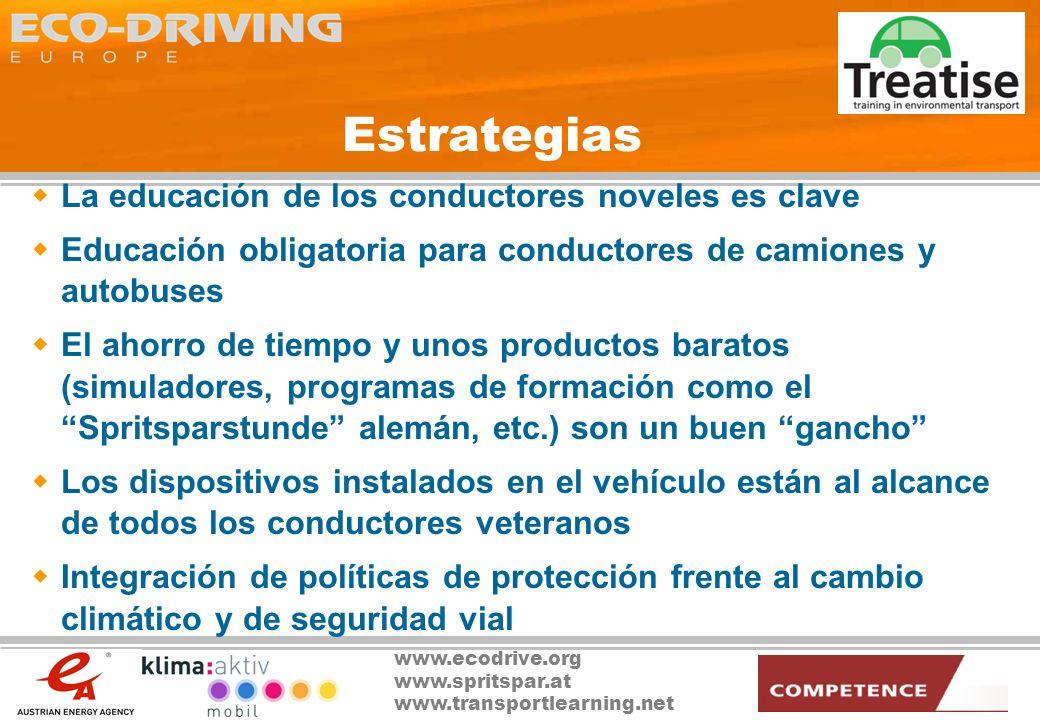 www.ecodrive.org www.spritspar.at www.transportlearning.net La Conducción Ecológica como conector … Gestores de Programa Desarrolladores Proveedores Especialistas en Marketing