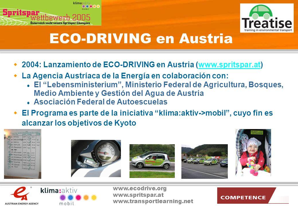 www.ecodrive.org www.spritspar.at www.transportlearning.net ECO-DRIVING Austria: Elementos principales Concurso ECO-DRIVING Concurso de estilos de conducción orientados al ahorro de combustible abierto a la participación de todos los conductores.