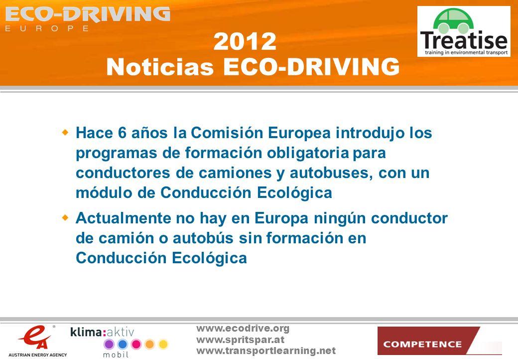 www.ecodrive.org www.spritspar.at www.transportlearning.net 2012 Noticias ECO-DRIVING El aumento de emisiones de CO 2 debidas al transporte ha provocado que los países de la EU hayan tenido que hacer frente a un enorme coste económico de acuerdo con el Protocolo de Kyoto Los programas de Conducción Ecológica han logrado reducir las emisiones de CO 2 debidas al transporte en un 2%, permitiendo ahorrar 20.000.000.000 de euros al año.