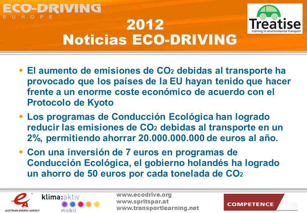 www.ecodrive.org www.spritspar.at www.transportlearning.net 2012 Noticias ECO-DRIVING Los vehículos de motor de 2 litros con sistemas integrados de Conducción Ecológica han incrementado su volumen de ventas en un 5% en lo que respecta a vehículos nuevos Una nueva directiva obliga a incorporar sistemas de ahorro de combustible en todos los vehículos automáticos vendidos en la UE Los sistemas de adaptación inteligente de la velocidad y de control de revoluciones controlan los vehículos durante más del 95% del tiempo al volante