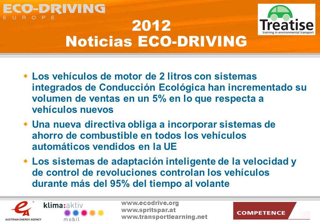 www.ecodrive.org www.spritspar.at www.transportlearning.net 2025 Noticias ECO-DRIVING Los evaluadores de programas eligen el Programa ECO-DRIVING como ejemplo de éxito de principio a fin (1990 - 2015) El mensaje es claro: el éxito del Programa ECO-DRIVING hizo que éste resultara finalmente innecesario