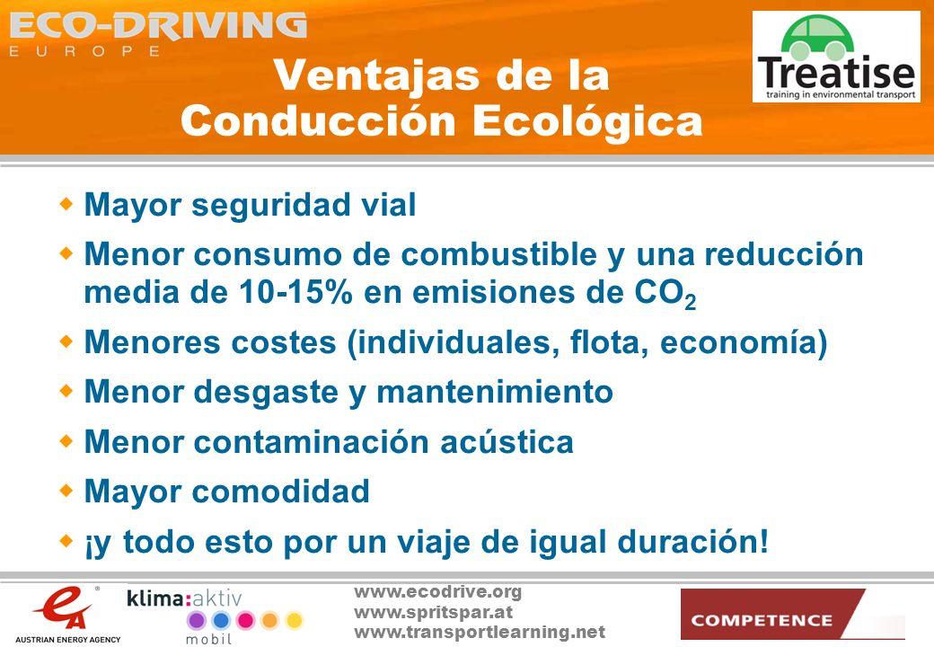 www.ecodrive.org www.spritspar.at www.transportlearning.net Ventajas de la Conducción Ecológica Medidas extensivas en costes para reducir las emisiones de gases de efecto invernadero en el ámbito del transporte Por ej.