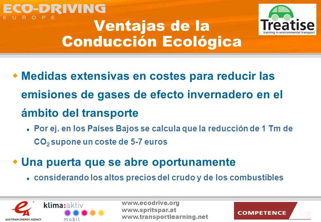 www.ecodrive.org www.spritspar.at www.transportlearning.net Inconvenientes de la Conducción Ecológica ¡Aún no se ha encontrado ninguno importante.