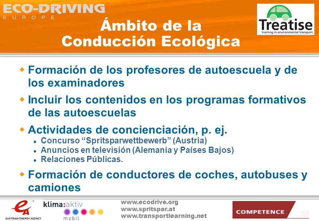 www.ecodrive.org www.spritspar.at www.transportlearning.net Ámbito de la Conducción Ecológica Apoyo a la creación de programas nacionales p.