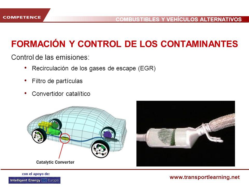 COMBUSTIBLES Y VEHÍCULOS ALTERNATIVOS www.transportlearning.net con el apoyo de: FORMACIÓN Y CONTROL DE LOS CONTAMINANTES Control de las emisiones: Recirculación de los gases de escape (EGR) Filtro de partículas Convertidor catalítico