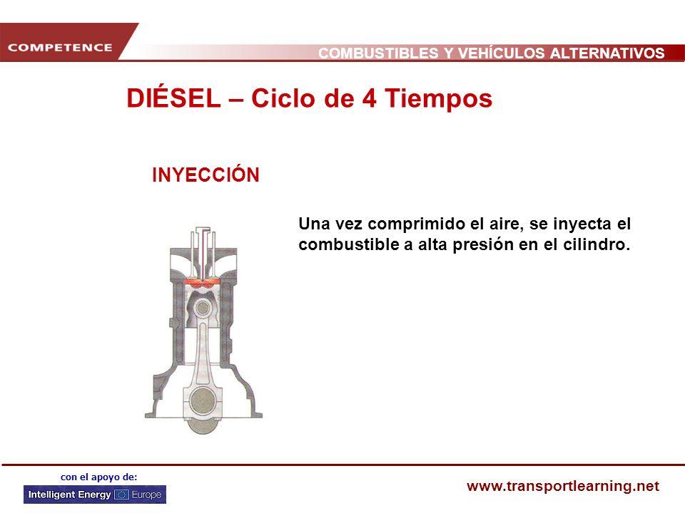 COMBUSTIBLES Y VEHÍCULOS ALTERNATIVOS www.transportlearning.net con el apoyo de: INYECCIÓN Una vez comprimido el aire, se inyecta el combustible a alta presión en el cilindro.