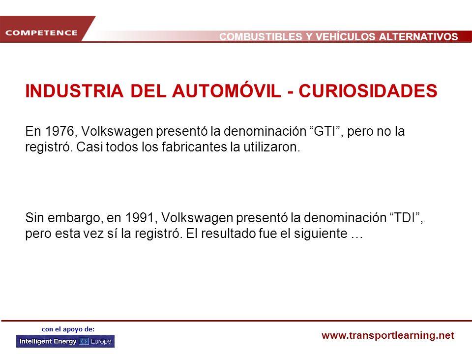 COMBUSTIBLES Y VEHÍCULOS ALTERNATIVOS www.transportlearning.net con el apoyo de: INDUSTRIA DEL AUTOMÓVIL - CURIOSIDADES En 1976, Volkswagen presentó la denominación GTI, pero no la registró.
