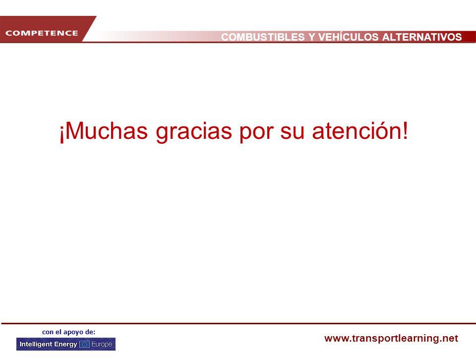 COMBUSTIBLES Y VEHÍCULOS ALTERNATIVOS www.transportlearning.net con el apoyo de: ¡Muchas gracias por su atención!