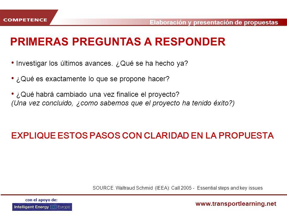 Elaboración y presentación de propuestas www.transportlearning.net con el apoyo de: PRIMERAS PREGUNTAS A RESPONDER Investigar los últimos avances.