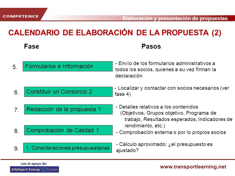 Elaboración y presentación de propuestas www.transportlearning.net con el apoyo de: CALENDARIO DE ELABORACIÓN DE LA PROPUESTA (2) FasePasos Comprobación de Calidad 1 8.