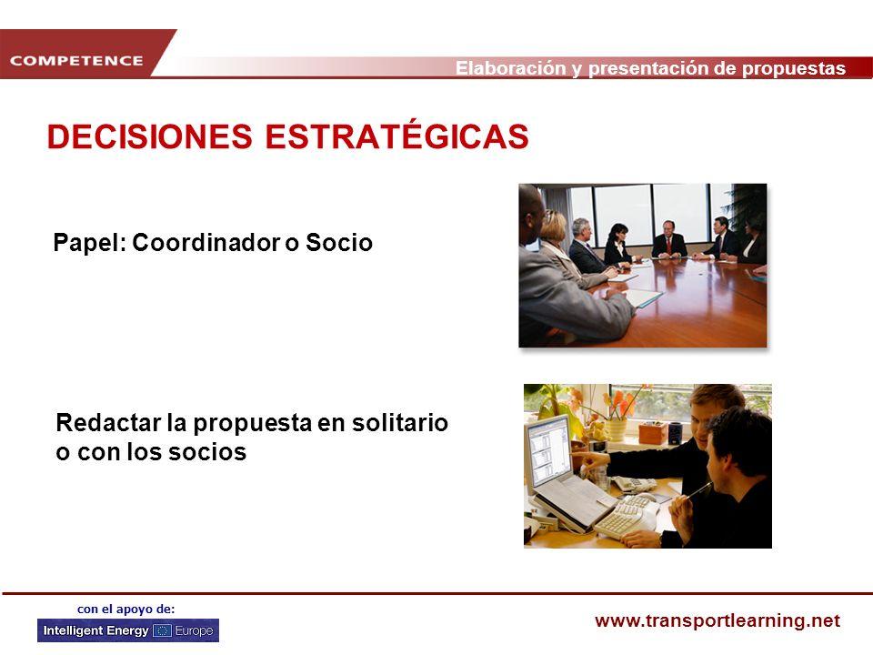 Elaboración y presentación de propuestas www.transportlearning.net con el apoyo de: DECISIONES ESTRATÉGICAS Papel: Coordinador o Socio Redactar la propuesta en solitario o con los socios