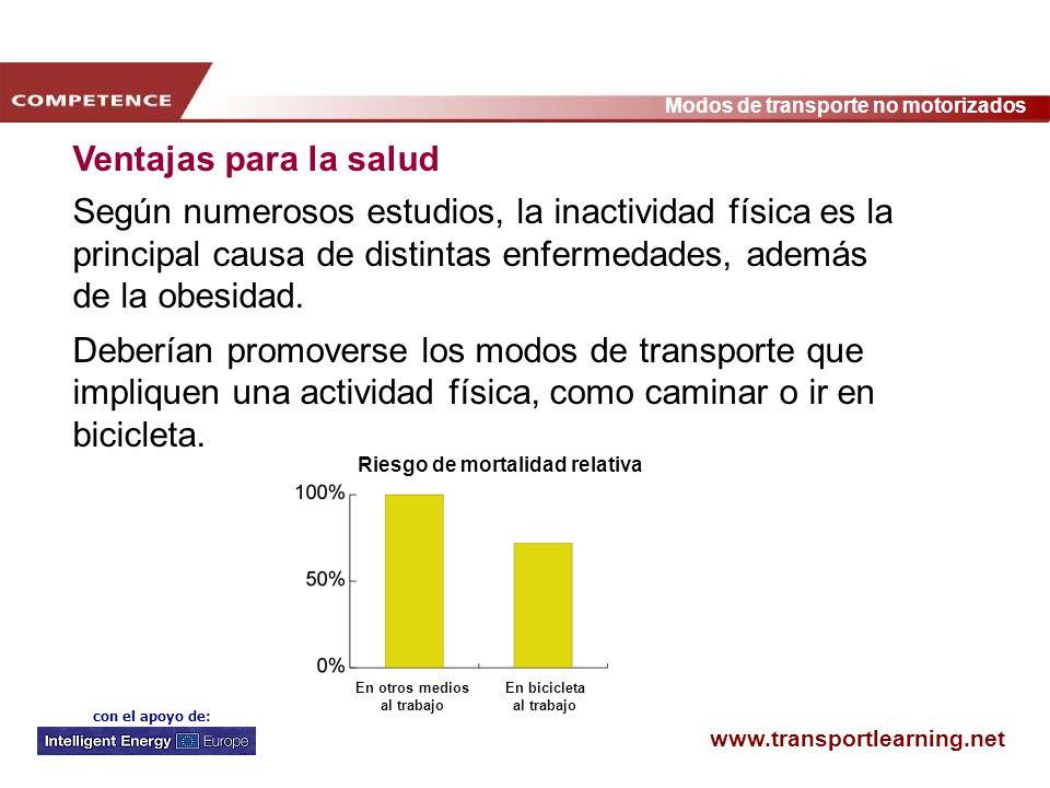 www.transportlearning.net Modos de transporte no motorizados con el apoyo de: Ventajas para la salud Según numerosos estudios, la inactividad física e