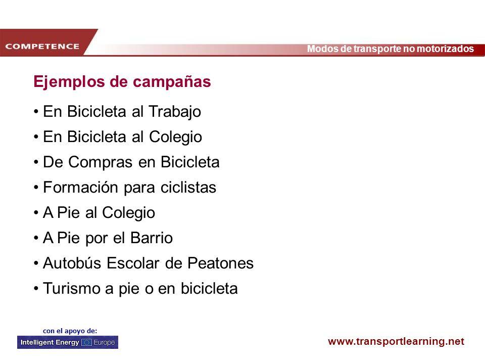 www.transportlearning.net Modos de transporte no motorizados con el apoyo de: Ejemplos de campañas En Bicicleta al Trabajo En Bicicleta al Colegio De