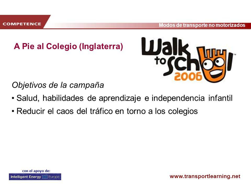 www.transportlearning.net Modos de transporte no motorizados con el apoyo de: A Pie al Colegio (Inglaterra) Objetivos de la campaña Salud, habilidades