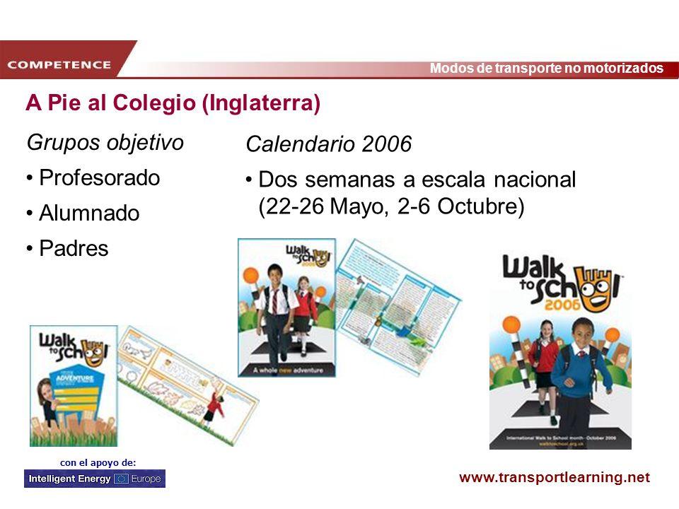 www.transportlearning.net Modos de transporte no motorizados con el apoyo de: A Pie al Colegio (Inglaterra) Grupos objetivo Profesorado Alumnado Padre