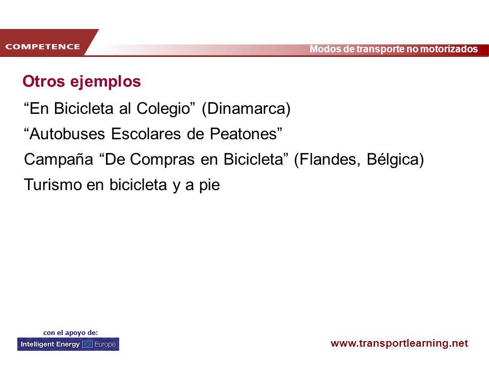 www.transportlearning.net Modos de transporte no motorizados con el apoyo de: Otros ejemplos En Bicicleta al Colegio (Dinamarca) Autobuses Escolares d