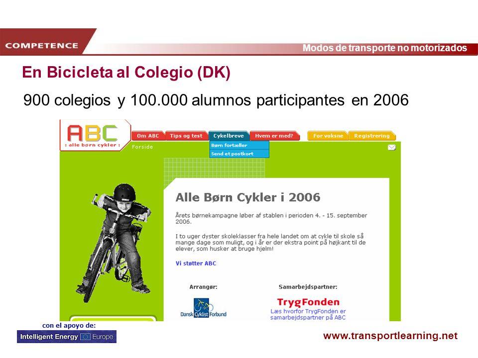 www.transportlearning.net Modos de transporte no motorizados con el apoyo de: En Bicicleta al Colegio (DK) 900 colegios y 100.000 alumnos participante