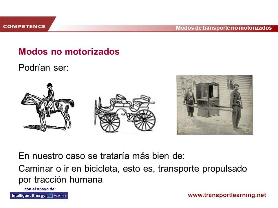 www.transportlearning.net Modos de transporte no motorizados con el apoyo de: Modos no motorizados Podrían ser: En nuestro caso se trataría más bien d