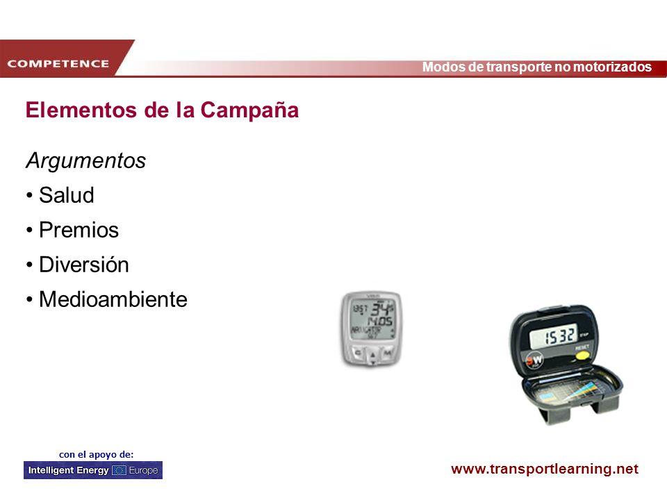 www.transportlearning.net Modos de transporte no motorizados con el apoyo de: Elementos de la Campaña Argumentos Salud Premios Diversión Medioambiente