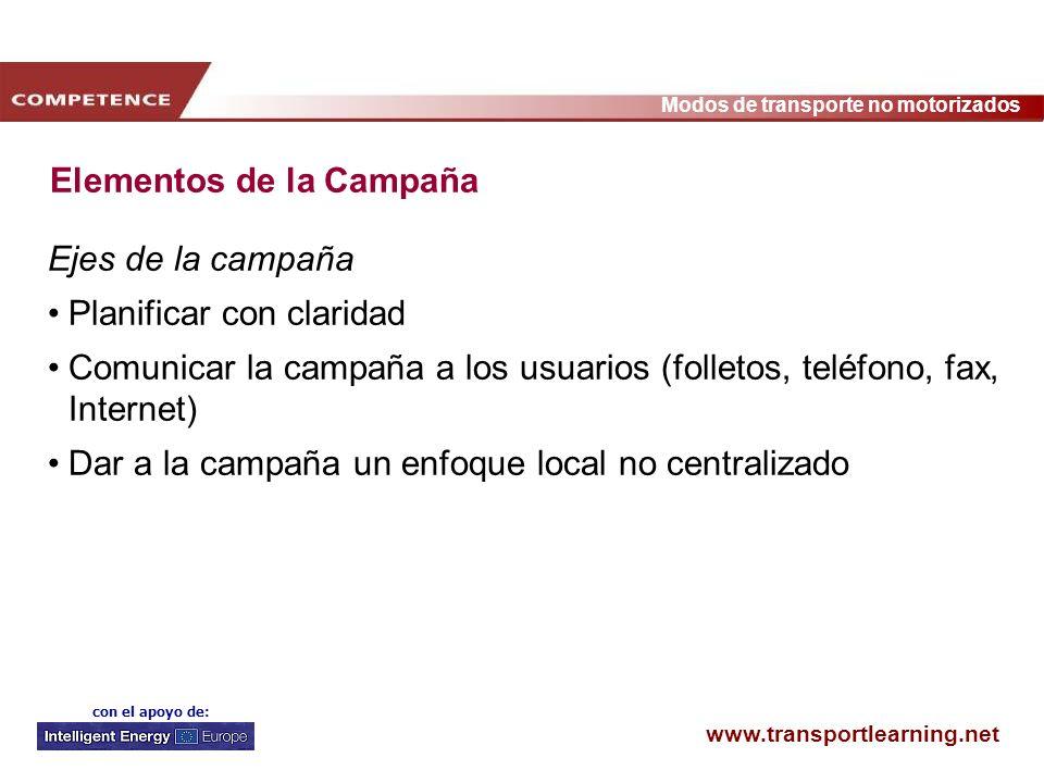 www.transportlearning.net Modos de transporte no motorizados con el apoyo de: Elementos de la Campaña Ejes de la campaña Planificar con claridad Comun