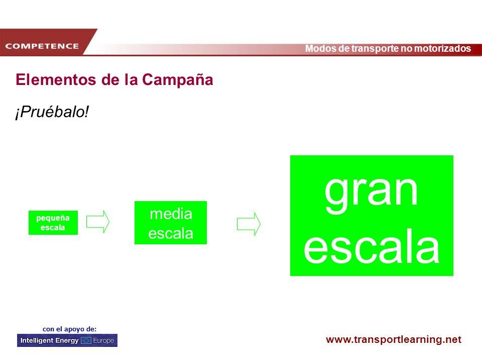www.transportlearning.net Modos de transporte no motorizados con el apoyo de: ¡Pruébalo! pequeña escala media escala gran escala Elementos de la Campa