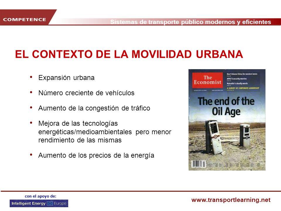 Sistemas de transporte público modernos y eficientes www.transportlearning.net con el apoyo de: LOS COCHES OCUPAN UN ESPACIO URBANO MUY VALIOSO Para transportar a 50.000 personas en una dirección, se necesita: Una vía de 175 m de ancho para coches, o Una vía de 35 m de ancho para autobuses, o Una vía de 9 m de ancho para tranvía o metro Los coches están aparcados el 95% de su vida, y un coche aparcado ocupa tanto como el despacho de su conductor