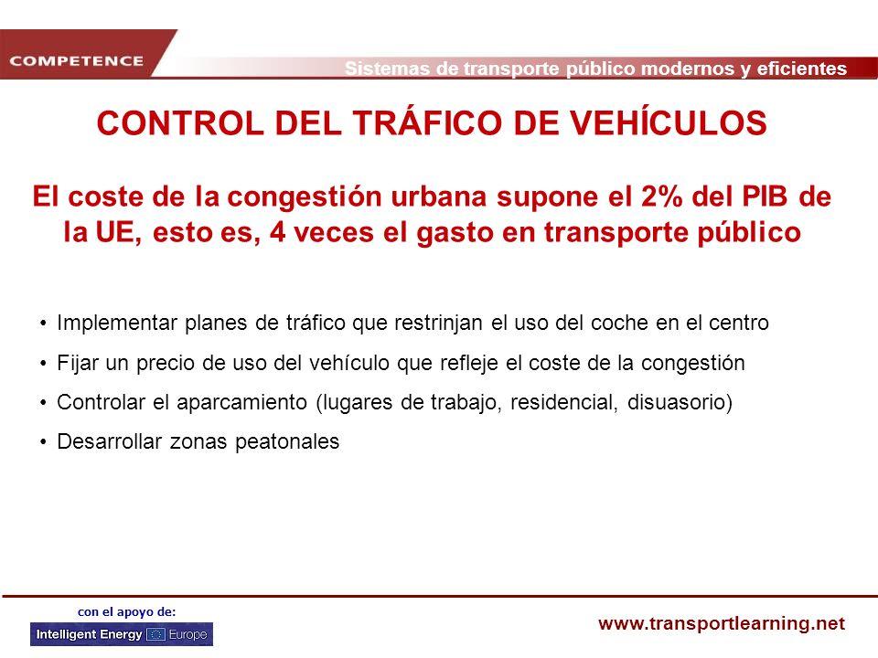 Sistemas de transporte público modernos y eficientes www.transportlearning.net con el apoyo de: CONTROL DEL TRÁFICO DE VEHÍCULOS El coste de la conges
