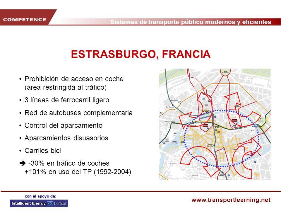 Sistemas de transporte público modernos y eficientes www.transportlearning.net con el apoyo de: ESTRASBURGO, FRANCIA Prohibición de acceso en coche (á