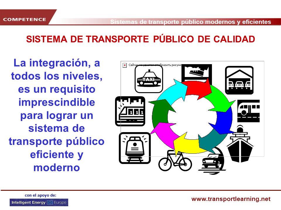 Sistemas de transporte público modernos y eficientes www.transportlearning.net con el apoyo de: SISTEMA DE TRANSPORTE PÚBLICO DE CALIDAD La integració