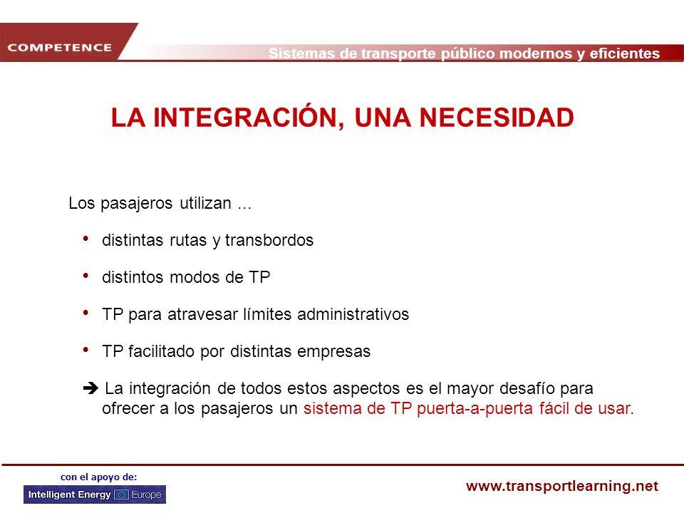Sistemas de transporte público modernos y eficientes www.transportlearning.net con el apoyo de: LA INTEGRACIÓN, UNA NECESIDAD Los pasajeros utilizan..