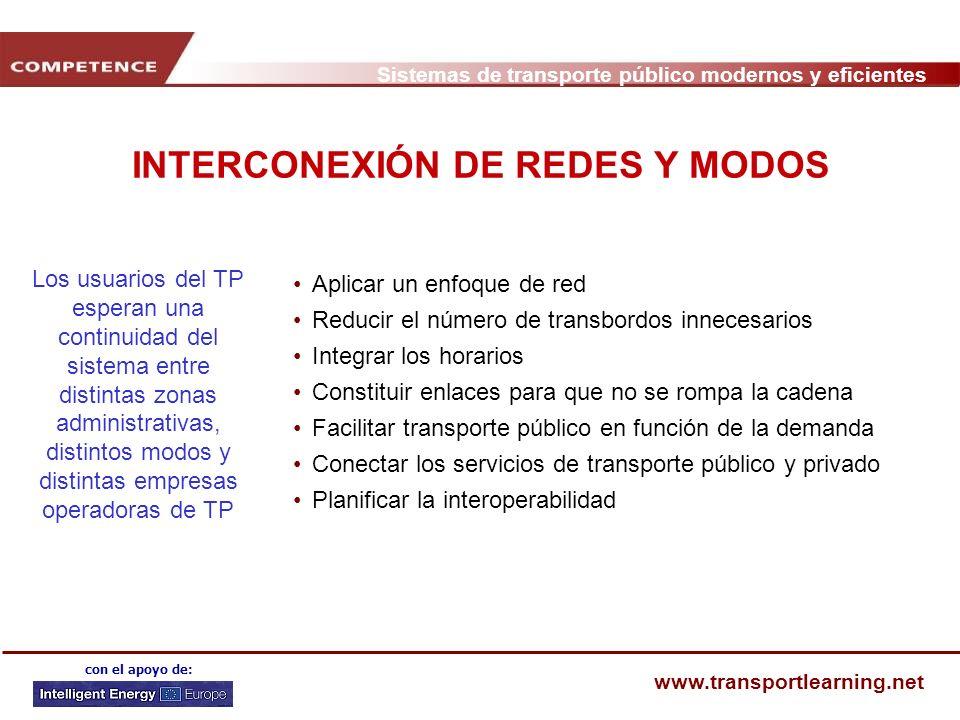 Sistemas de transporte público modernos y eficientes www.transportlearning.net con el apoyo de: INTERCONEXIÓN DE REDES Y MODOS Aplicar un enfoque de r